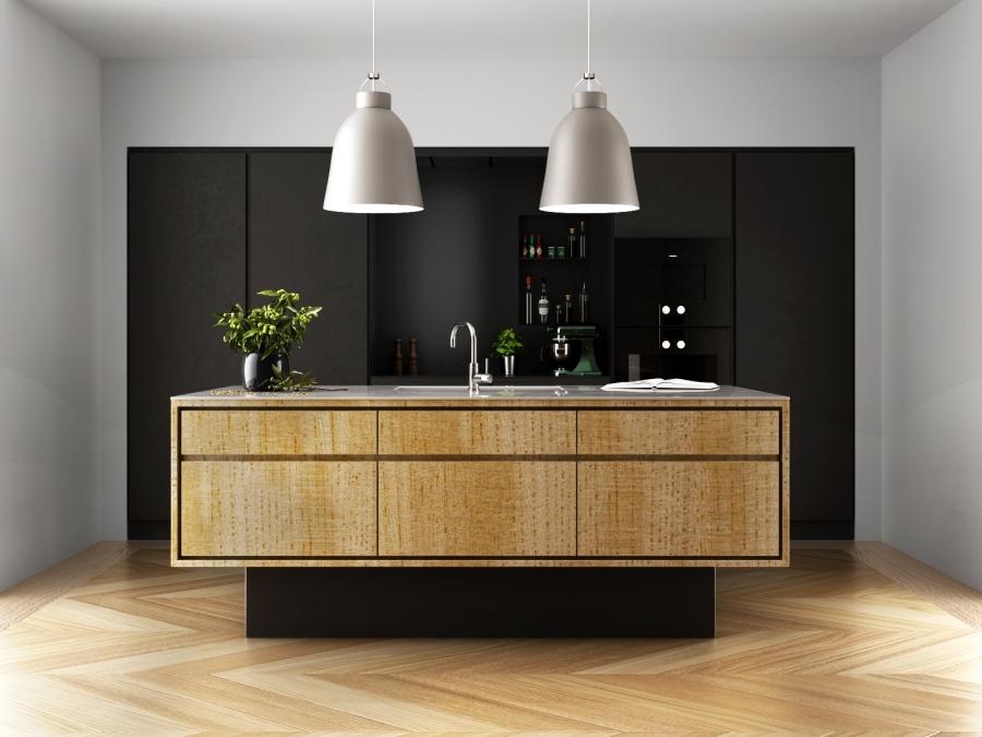 3D RENDERING_INTERIOR DESIGN_black kitchen