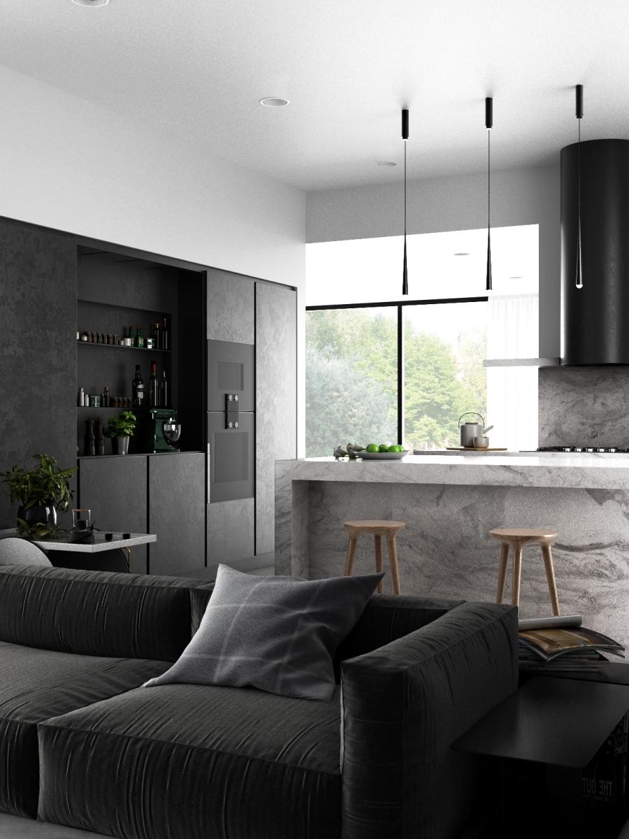 3D RENDERING_INTERIOR DESIGN_living kitchen
