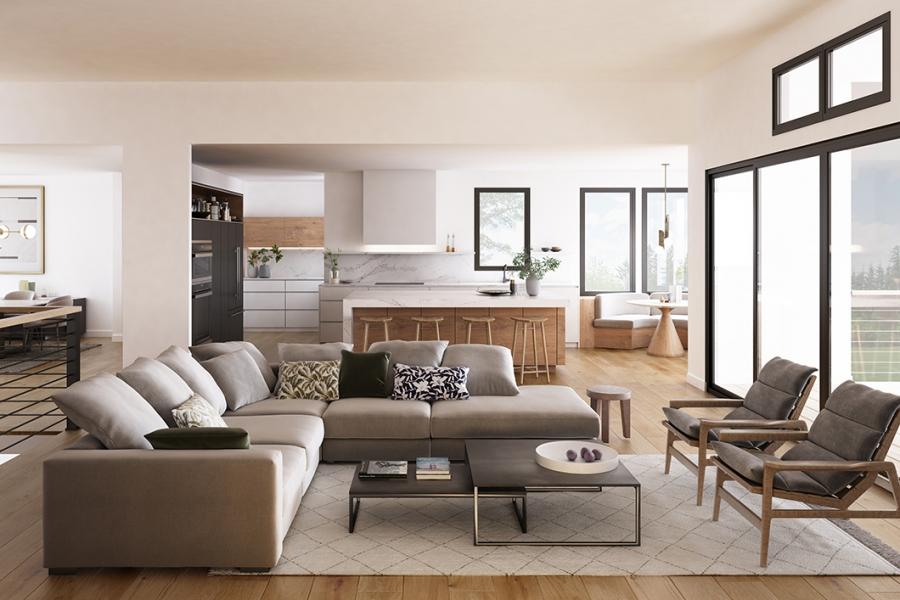 Interior Rendering_Living+Kitchen