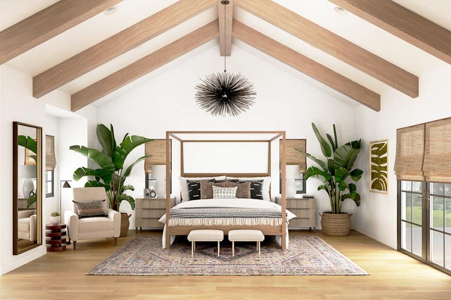 Interior Rendering_ Eclectic bedroom