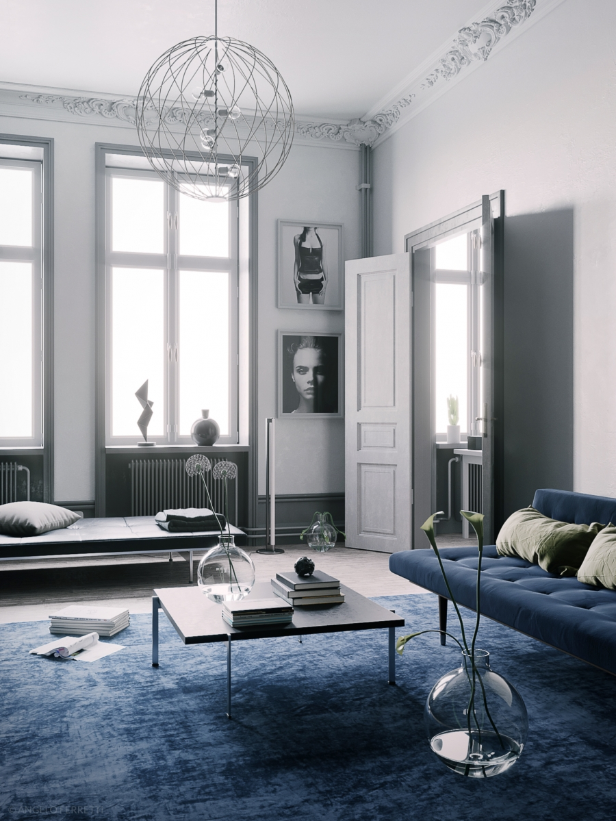 Blue Scandinavian interior