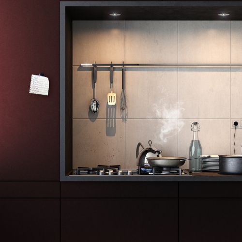 In our place | Visualisation  of a custom-designed kitchen by Uno a Uno architecture