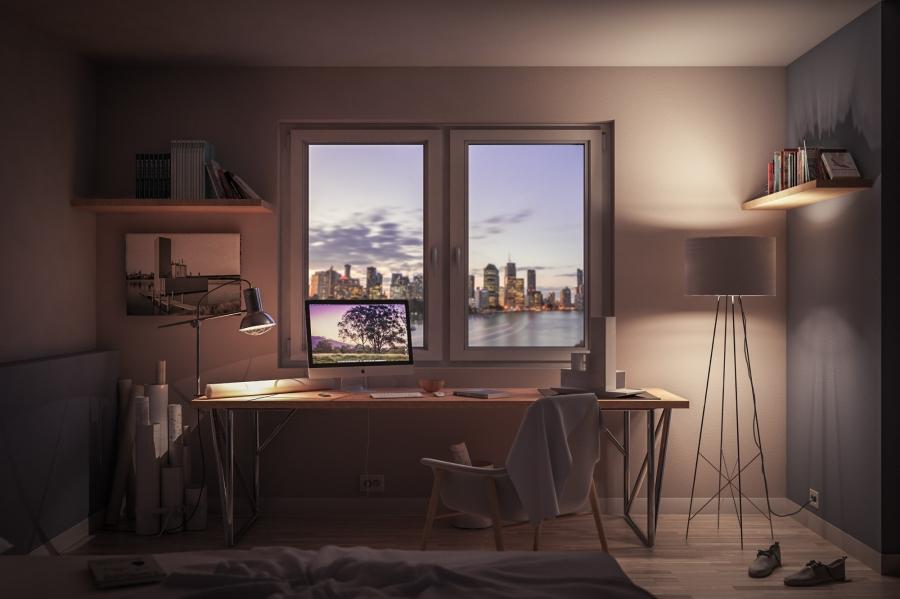 Bedroom at dusk